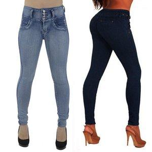 Frauen Hohe taillierte dünne weiche und komfortable Denim Jeans Stretch Slim Hosen Kalblänge Jeans L50 / 01301