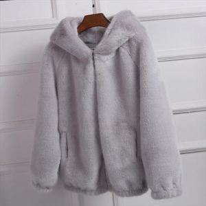 Fur Coat 2020 Womens Winter Korean Short Female Warm Loose Plush Hooded Thick Coat Jacket Overcoat Artificial Fur