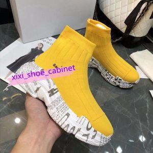 Top Fashion 2020 ACE Luxury Designer Sock Shoes Women Mens Casual Shoes Black Yellow Triple White Graffiti vintage Flat Socks Boots