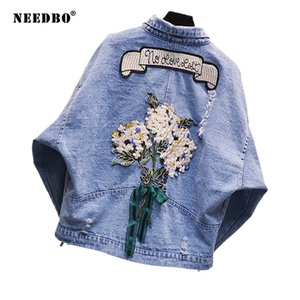 NEEDBO Denim Jacket Oversize Crop Embroidery Jacket Woman Casual Loose Jeans Jacket Women Summer Female Women Jackets and Coats 201021
