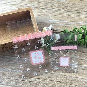 100pcs populäre freie Pink Cherry Süßigkeit Keks Taschen Hochzeit Geburtstag Partei Craft Self Adhesive Plastic Biscuit Verpackung Geschenk-Beutel