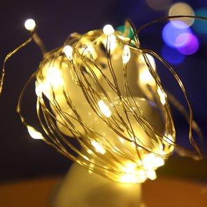 Luz LED de cadena de plata de alambre luces de hadas Garland decoraciones de Navidad alimentado por batería de bateador 10m USB 5M 3M
