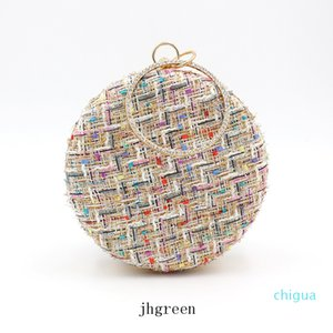 Round Handbags Cloth Material Grid Handbags Shoulder Bag 18cm Mobile Phone Pressed Powder Storage Bag Storage Bag With Circular Ring