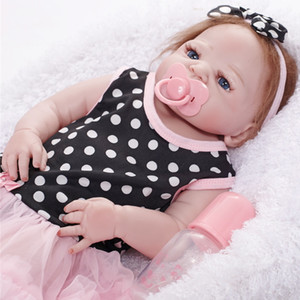 55cm Vivencionistas Boneca recém-nascidos Brinquedos para Crianças Presentes de Natal Corpo Silicone menina Renascer azuis bonitos Olhos Dolls aniversário