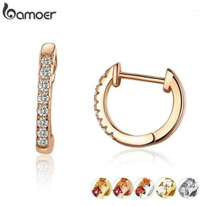 bamoer 6 Colors Sparkling Circle Earrings for Women Silver 925 Rose Gold Color Wedding Statement Jewelry Brincos SCE498-C1
