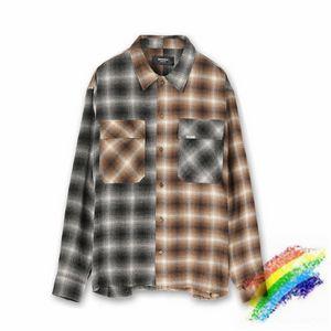 Remiendo Camisa de Franela Hombres Mujeres 1 de alta calidad Negro blanco comprobar camisas de manga larga de bolsillo está en etiqueta de la blusa