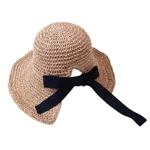 Mnycxen Spring And Summer Women Handmade Foldable Rear Split Strap Straw Hat Adjustable Solid Color Sun Caps For 2020 Ladies Hot