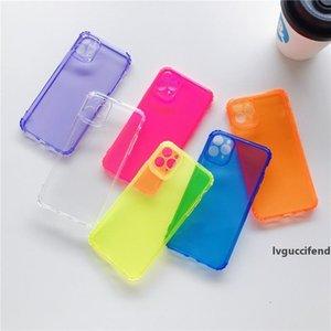 INS Hot fluorescent cas de téléphone transparent antichocs pour iPhone 11 Pro Max XR XS Max 8 7 plus tendance couvercle arrière silicone pas cher Promotion