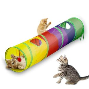 Cat Tunnel Pet Tube Collapsible Play Toy Indoor Outdoor for Puzzle Exercising Hiding Training and Running with Fun Ball 2 Hole