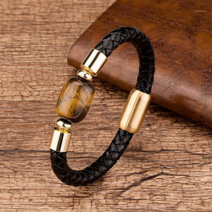 Fashion Mens Jewelry Handmade Natural Oval Stone Genuine Leather Bracelets Gold Stainless Steel Magnetic Clasp For Male Bangles1