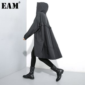 [EAM] Women Black Ruffles Big Size Thin Trench New Hooded Long Sleeve Loose Fit Windbreaker Fashion Spring Autumn 1M007 200930