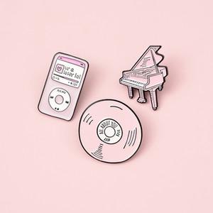 New Play Music Badge Mp3 Tape Piano Radio Cd Jukebox Phonograph Brooches Lapel Shirt Bag