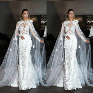 2021 Modest Mermaid Wedding Dresses 3D Floral Applique Handmade Flowers Mermaid with Cape Jewel Neck Chapel Wedding Gown Vestido de novia