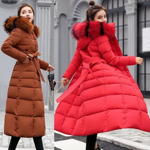 2019 new winter jacket womens warm fashion bow belt fox fur collar coat long dress womens thick coat