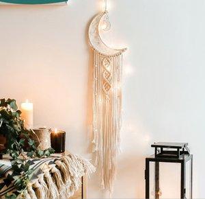 Woven Moon Dream Catcher Macrame Wall Hanging Tapestry Home Nursery Wall Decor Handmade Dreamcatcher Ornament Beige Bohemian Style