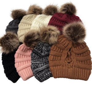 New European and American after opening cross ponytail with ball, knit cap lady's wool warm hat Women's Hats 5pcs lot .