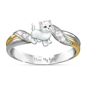 I love my kitty Cat Ring Austria Crystal Children Rings Cartoon Animal Finger Ring Lovely Jewelry for Girls Kids Gift