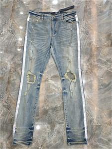 Neues Design Solide Classic Style Designer Jeans Mode Straight Fit Ankunft Hosen Verzerrte Wasser Diamant Zebra Streifen Top Jeans Größe 28-36