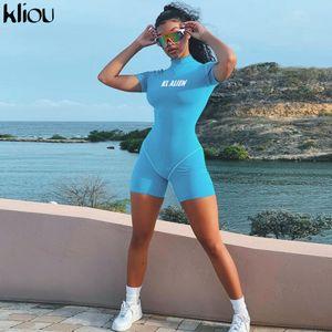 Kliou women skinny bodysuit short sleeve playsuit Reflective letter print rompers 2019 female turtleneck fashion casual bodysuit T191019