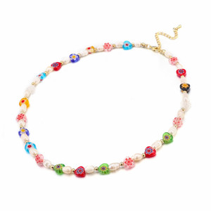 Simple Glasses Seed Beads Strand Necklace for Women String Multicolor Flowers Beaded Short Choker Necklace Jewelry Gift