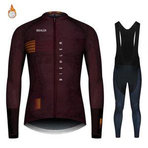 Biehler 2020 Winter Thermal Fleece Men Pro Jerseys Set Long Sleeve Bicycle Clothes 20d Gel Pad Bike Cycling Clothing