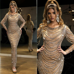 Luxury Beading Mermaid Evening Dresses Crystals Long Sleeves Prom Party Gowns Ankle Length Sheath Women Red Carpet Celebrity Dress