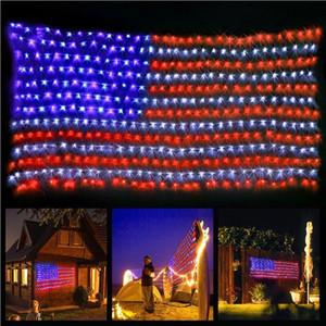 Amerikan Bayrağı 420 LED String Bağımsızlık Günü, Anma Günü için geniş ABD Bayrağı Açık Işıklar Su geçirmez Asma Süsler Lights