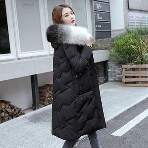 TYJTJY женщина зима новая женская одежда мода длинный большой меховой воротник женщина ветровки Корейский утолщенной женщин зимняя куртка 201023