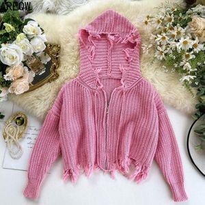 Cortar Camisolas Mulheres Outono Primavera Short com capuz Colégio Tassled Zip Cardigans Longo-Luva Knitwear Coat para mulheres Camisola feia