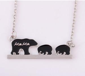 Mama Bear Tag Halskette Gravierte Tier Mode Mutter und Kinder Schmuck Mutter Kinder Liebe Halskette
