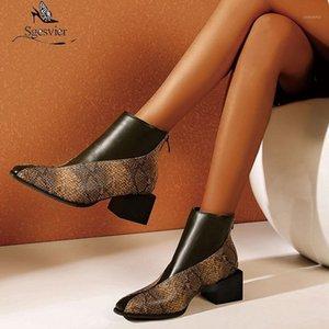 Ssgesvier Große Größe 48 Stiefel Frauen Schlange Haut Patchwork Square Heels Ankle Boots Herbst Schuhe Frau Damen Basic Biker1