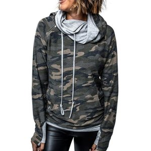 Ladies Fashion Hoodies Sweatshirts Design Women's Autumn Camouflage Long Sleeve Pile Collar Zipper Top Sra Moletons Com Capuz
