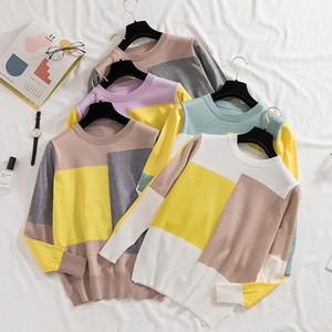 Shintimes 2020 Осень Зима Повседневный Color Matching женщин свитер Корейский моды Свободный свитер Женские трикотажные топы с длинным рукавом