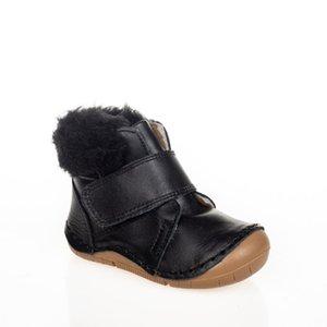 MyWondry Hakiki Deri Kürklü Siyah Erkek Bebek İlk Adım Çizmeler W1217
