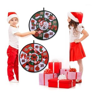 Christmas Balls Dart Board Game Set Xmas Party Game Dart Board Wall Hanging Ornaments With 4 Balls For Kids New Year 2021 Gifts1