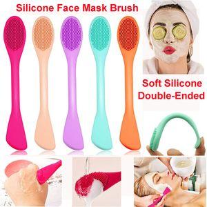 Máscara Facial de silicone escova Double-cabeça de silicone suave de limpeza facial escova lama de argila Máscara de loção para o corpo e BB CC Creme Brushes Ferramentas de Beleza