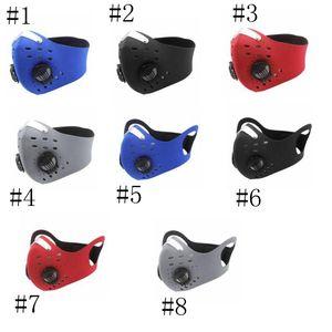 Маска для лица Маски для велоспорта Пылезащитна ветрозащитная противотуманная активированный угль респираторы клапана многоразовой езды маски с фильтрами GGE2024