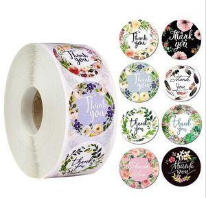 500pcs / rotolo 1 pollice rotondo GRAZIE ADESIVE Etichetta adesivo Busta Guarnizione Adesivo al forno Paperckage Sticker FAI DA TE per Natale Party Regalo Deco