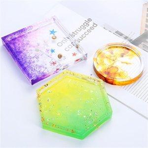 4 Design Diy Flower Pots Base Mold Transparent Casting Crystal Mould Silicone Tea Mat Coaster Molds Table Decoration Accessories 3 7ms E19