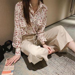 CEODOGG Çalışma Stil Mizaç Bluz Kadınlar Gevşek Artı Boyutu Kalp Baskı Uzun Kollu Blusas Bahar Sahte Cep Tasarım Gömlek