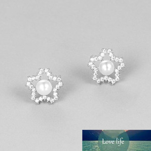 Sparkling CZ Star and Shell Pearl Stud Earrings for Women