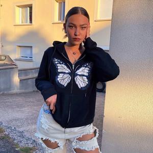 Moda Kelebek Baskı Sonbahar Kış Için Yeni Uzun Kollu Hoodie Yüksek Kalite 2020 kadın Rahat Ceket
