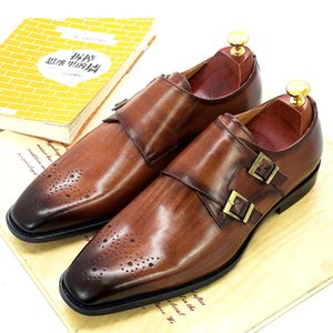 Doppel Monk Strap Oxford Schuhe Herren Handgemachte echtes Leder Buckle Herren Lederschuhe formale Hochzeit Büro für Männer Schuhe LJ201015