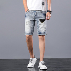 Mens Denim Shorts Classical Cartoon Eagle Pattern Printed Men's Jeans Fashion Straight Stylist Pants Knee Length Slim Casual New Arrival
