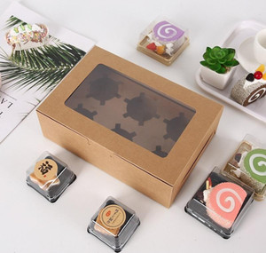 Transparent Windowed Cupcake Boxes White Brown Paper Muffin Box Baking Packing Box Party jllHly insyard