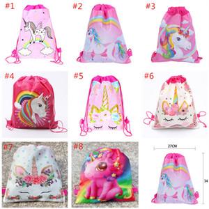 Dibujos animados Unicorn Sobrystring Bag Non Woven Sling Bags Kids Backpacks Unicorn School Bag Boys Girls Pouch Fiesta Regalo de cumpleaños 8 Estilo para Navidad