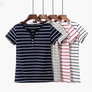 T shirt Cotton Striped T Shirt Women Ladies Tshirt Summer Top Female 2020 Short Sleeve Casual Tee Shirt White Sexy Plus Size