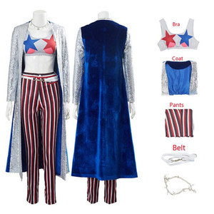 Suicide Squad Birds of Prey Cosplay Costume Quinn Necklace Coat Pants 5 Pieces Suits Halloween Costumes For Women Outfit