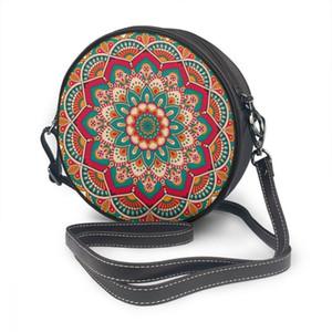 2021 Oln Frauen Umhängetaschen Mädchen Runde Taschen Blume Mandalas Vintage Frauen Casual Messenger Crossbody