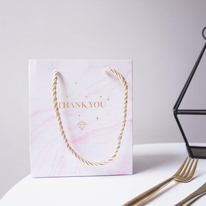 Solid Color Marble Thank You Gift Bag Wedding&Engagement Favors and Gifts for Guests Souvenirs Paper Bags with Handles 10pcs